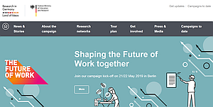 "Startseite der Website ""The Future of Work"""