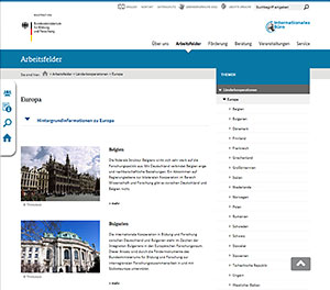 Screenshot der Website Internationales Büro