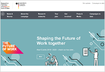 screenshot of the website of the research marketing campaign the future of work