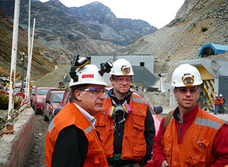 Three men in an copper mine