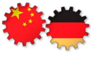 Gears with German and Chinese flag