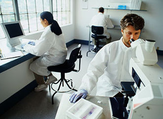 Three researcher in a laboratory