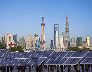 Skyline of Shanghai with photovoltaic systems